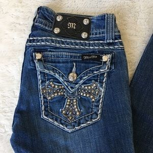 """Miss Me Cross Bling Bootcut Jeans Size 27x32.5"""""""